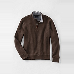 Lands' End - Brown men's regular heather brushed rib half-zip pullover