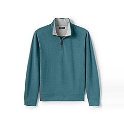 Lands' End - Blue regular heather brushed rib half-zip pullover