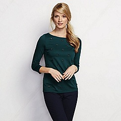 Lands' End - Green women's cotton modal laser cut tee
