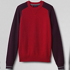 Lands' End - Red men's lambswool colourblock sweatshirt