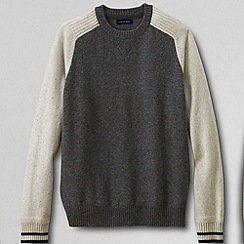 Lands' End - Cream men's lambswool colourblock sweatshirt