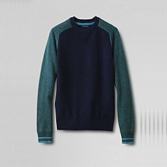 Lands' End - Blue men's lambswool colourblock sweatshirt