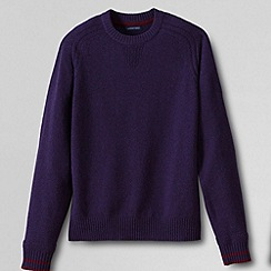 Lands' End - Purple men's regular lambswool tipped sweatshirt