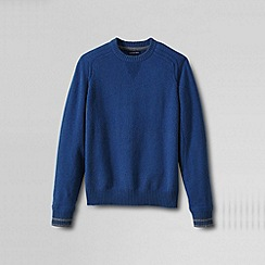 Lands' End - Blue men's regular lambswool tipped sweatshirt