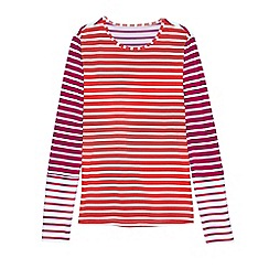 Lands' End - Pink multi stripe long sleeve swim tee