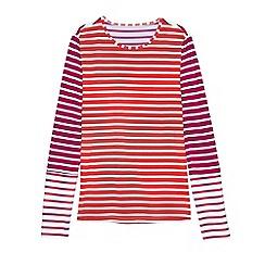 Lands' End - Pink multi stripe long sleeve swim tee