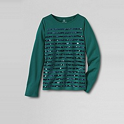 Lands' End - Green little girls' long sleeve high-low tee