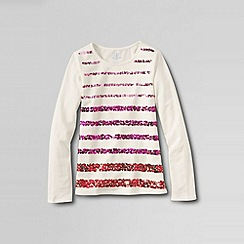 Lands' End - White little girls' long sleeve high-low tee