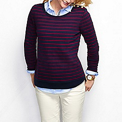 Lands' End - Blue women's fitted breton stripe sweatshirt