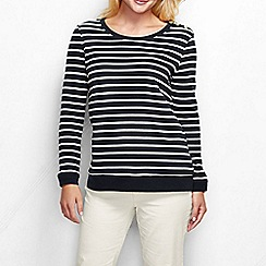 Lands' End - Black women's fitted breton stripe sweatshirt