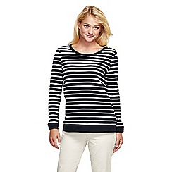 Lands' End - Black fitted breton stripe sweatshirt