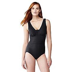 Lands' End - Black slender v-neck swimsuit