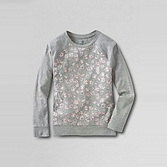 Lands' End - Grey girls' long sleeve sparkle crew neck knit tee