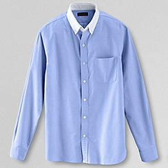 Lands' End - Blue men's long sleeved contrast collar sail rigger oxford shirt