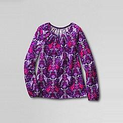 Lands' End - Purple little girls' novelty gathered neck knit tee