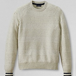 Lands' End - White men's textured stripe lambswool sweater