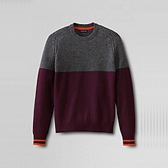Lands' End - Red men's textured yoke lambswool sweater