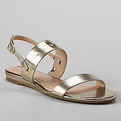 Lands' End - Gold women's regular neve flat sandals