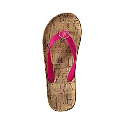 Lands' End - Pink women's cork wrapped flip flops