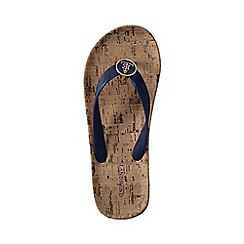 Lands' End - Blue women's cork wrapped flip flops