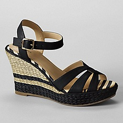 Lands' End - Black women's simona wedge sandals