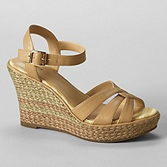 Lands' End - Beige women's simona wedge sandals