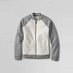 Lands' End - Cream girls' jacquard baseball jacket