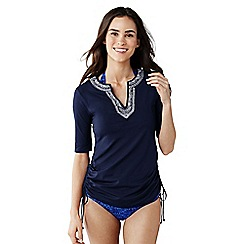 Lands' End - Blue women's adjustable embroidered swim cover-up tunic