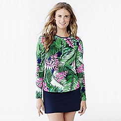 Lands' End - Multi women's cover up swim tee - leaf design