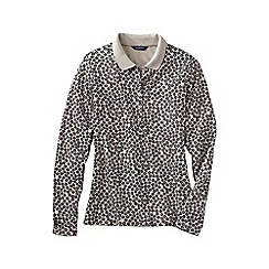 Lands' End - Cream slim fit dot print long sleeve pima polo