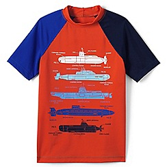 Lands' End - Orange boys' short sleeve baseball graphic rash guard top