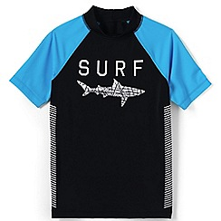 Lands' End - Black boys' short sleeve baseball graphic rash guard top