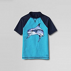 Lands' End - Blue boys' short sleeve baseball graphic rash guard top