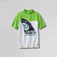 Lands' End - White boys' short sleeve rash guard colourblock graphic top