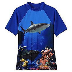 Lands' End - Blue boys' short sleeve patterned rash guard top
