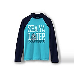Lands' End - Boys Toddler Blue long sleeve graphic rash guard top