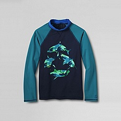 Lands' End - Blue little boys' long sleeve baseball graphic rash guard top