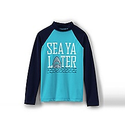Lands' End - Blue boys' long sleeve baseball graphic rash guard top