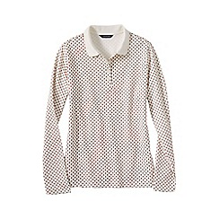 Lands' End - Cream regular long sleeved pima polo print
