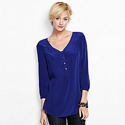 Lands' End - Blue women's regular bracelet-sleeve silk tunic