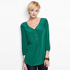 Lands' End - Green women's regular bracelet-sleeve silk tunic