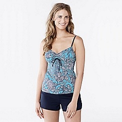 Lands' End - Multi women's beach living d-cup scoop neck tankini top - kinetic floral