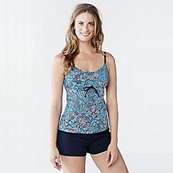 Lands' End - Multi women's beach living dd-cup scoop neck tankini top - kinetic floral