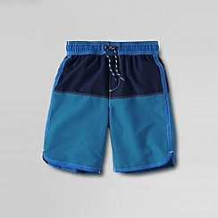 Lands' End - Blue little boys' colourblock swim shorts with curved hem