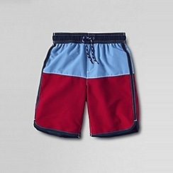 Lands' End - Red little boys' colourblock swim shorts with curved hem