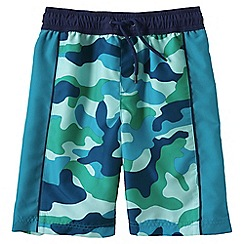 Lands' End - Blue little boys' pattern side pieced swim trunks