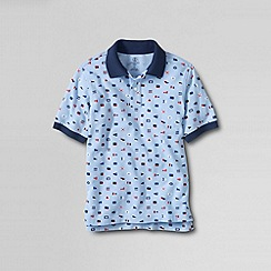 Lands' End - Blue boys' short sleeve print mesh polo shirt