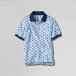 Lands' End - Blue boys' short sleeve print mesh polo shirt