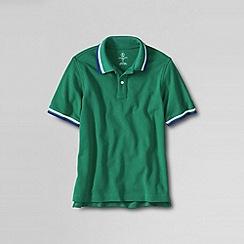 Lands' End - Green little boys' short sleeve solid mesh tip polo shirt