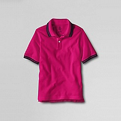 Lands' End - Pink boys' short sleeve solid mesh tip polo shirt